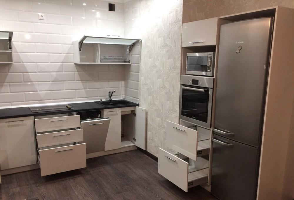 Белый кухонный гарнитур-Кухня МДФ в ПВХ «Модель 158»-фото4