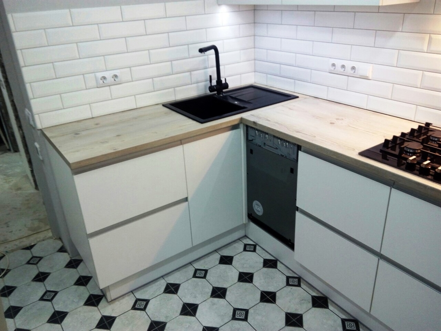 Белый кухонный гарнитур-Кухня из пластика «Модель 198»-фото3