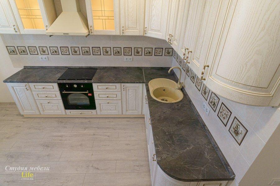 Белый кухонный гарнитур-Кухня из шпона «Модель 562»-фото3