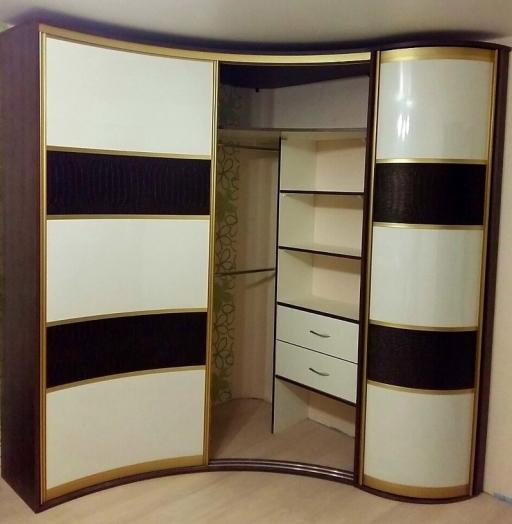 Белые шкафы-купе-Радиусный шкаф-купе «Модель 236»-фото3